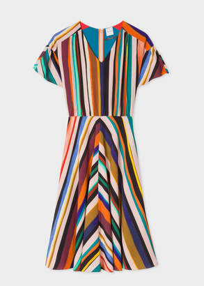 Paul Smith Women's V-Neck 'Expressive Stripe' Print Dress