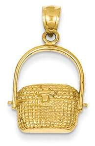 Black Bow Jewelry Company 14k Yellow Gold Large 2D Nantucket Basket Pendant