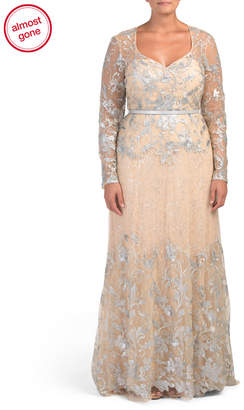 Plus Long Sleeve Lace Embroidered Gown