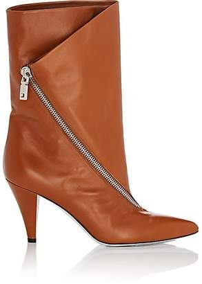Givenchy Women's Asymmetric-Zip Leather Ankle Boots - Med. brown