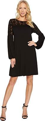 Three Dots Women's Refined Jersey Embroidered Loose Long Dress