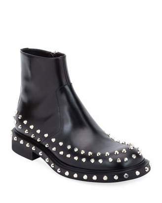 Prada Men's Side-Zip Studded Ankle Boots