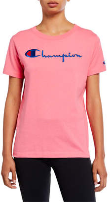 Champion Europe Reverse Weave Big Script Crewneck Short-Sleeve Logo T-Shirt