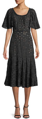 Rebecca Taylor Sarah Scoop-Neck Short-Sleeve Eyelet Embroidered A-Line Midi Dress
