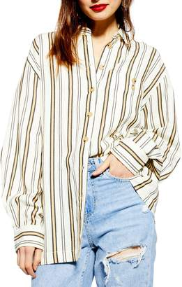 Topshop Stripe Casual Button Front Shirt