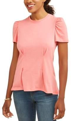 Alison Andrews Women's Short Cap Sleeve Peplum Top