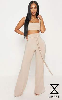 PrettyLittleThing Shape Stone Slinky Extreme High Waist Detail Wide Leg Trousers