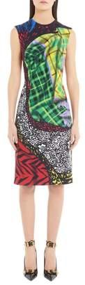 Versace First Line Mixed Tartan Print Dress