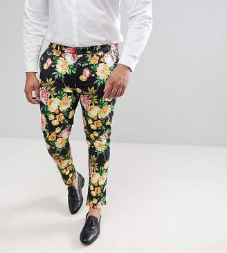 Asos Design DESIGN Plus Super Skinny Pants In Navy Floral Print