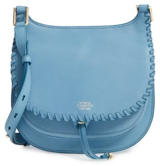 Vince Camuto Small Lidia Leather Crossbody Bag - Blue $198 thestylecure.com