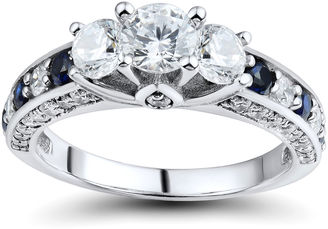 FINE JEWELRY DiamonArt Cubic Zirconia and Lab-Created Blue Sapphire 3-Stone Ring $312.48 thestylecure.com