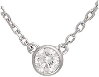 14K White Gold Bezel Set Solitaire 0.19CT Diamond Pendant Necklace