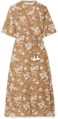Faithfull The Brand Rivera Floral-print Crepe Wrap Dress - Brown