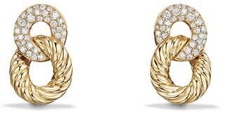 David Yurman Belmont Extra Small Curb Link Drop Earrings with Diamonds in 18K Gold