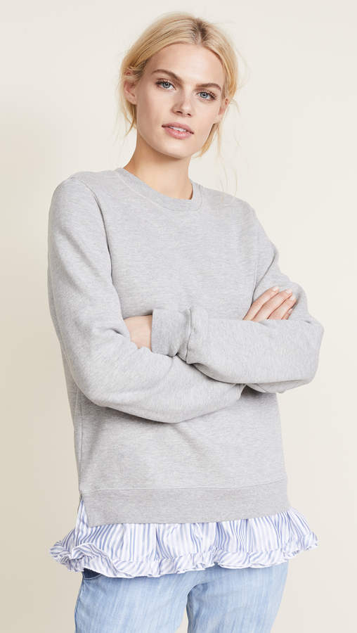 Sweatshirt with Contrast Ruffles