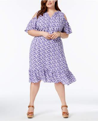 MICHAEL Michael Kors Size Cold-Shoulder Flounce Dress