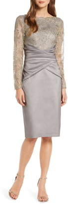 Tadashi Shoji Long Sleeve Embroidered Taffeta Sheath Dress