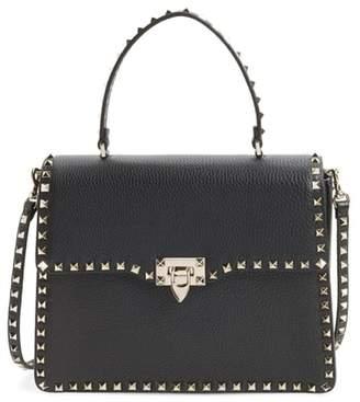Valentino Rockstud Calfskin Leather Top Handle Shoulder Bag