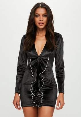 Missguided Black Velvet Diamante Dress