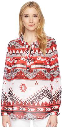 Tribal Georgette Long Sleeve Blouse with Back Gather Detail Women's Blouse