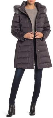 Kate Spade Faux Fur Trim Hood Heavy Quilted Coat