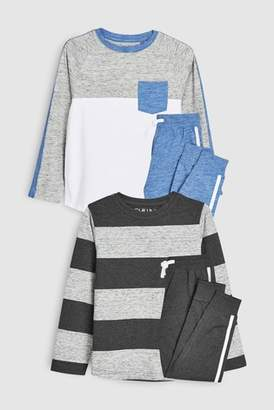 Next Boys Grey Stripe Pyjamas Two Pack (3-16yrs)