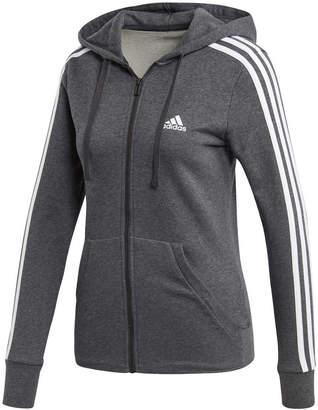 adidas Womens Essentials 3 Stripes Full Zip Hoodie