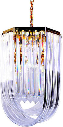One Kings Lane Vintage Large Lucite Ribbon Chandelier with Canopy - Galleria d'Epoca
