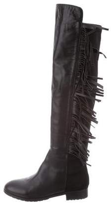 Stuart Weitzman Fringe-Accented Leather Boots