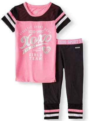XOXO Foil Logo Mesh Top and Performance Capri Legging, 2-Piece Active Set (Little Girls & Big Girls)