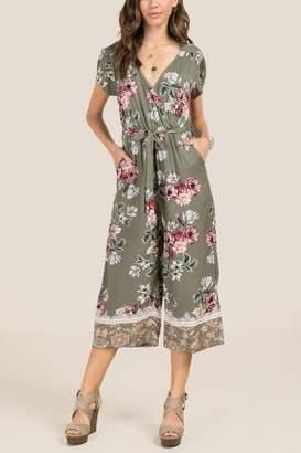 Alexia Floral Surplus Tie Waist Crop Jumpsuit - Dark Olive