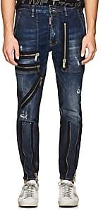 DSQUARED2 Men's Zip-Detailed Distressed Skinny Jeans-Blue Size 46 Eu