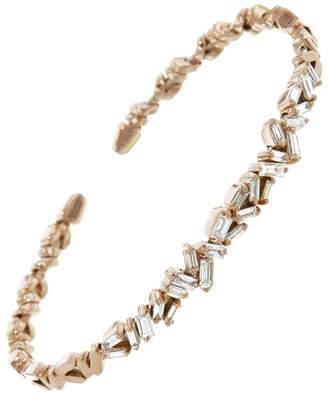 Suzanne Kalan Zig Zag White Diamond Firework Bangle Bracelet - Rose Gold