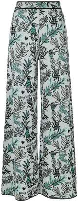 M Missoni floral flared trousers