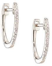 Ef Collection Women's Diamond & 14K White Gold Huggie Earrings/0.5""