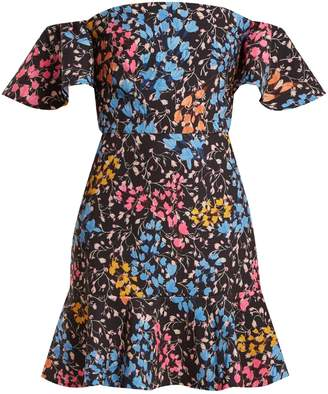 Saloni Amelia floral-print stretch-cady mini dress