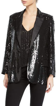 L'Agence Neval Sequin Single-Button Blazer