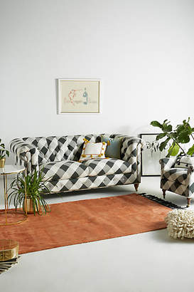 Anthropologie Buffalo Check Lyre Chesterfield Two-Cushion Sofa