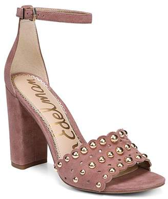 Sam Edelman Women's Yaria Studded Suede Block Heel Sandals