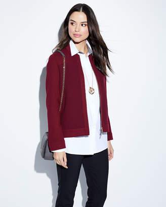 Lafayette 148 New York Alison Zip-Front Wool Bomber Jacket