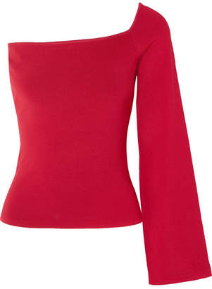 SOLACE London The Renata One-shoulder Stretch-knit Top - Red