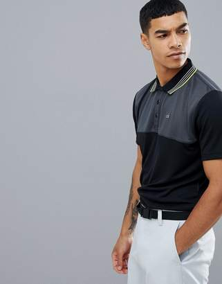 Calvin Klein Golf Performance Polo In Waffle In Black C9301