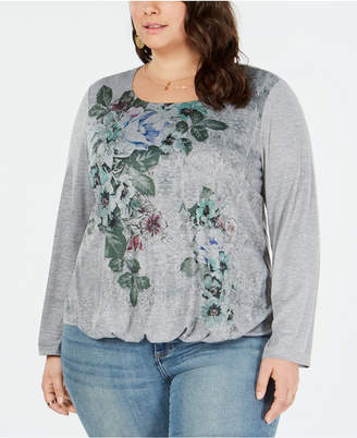 Style&Co. Style & Co Plus Size Floral-Graphic Bubble Top