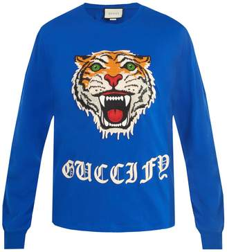 Gucci Tiger-embroidered crew-neck cotton sweatshirt