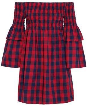 Walter W118 By Baker Off-The-Shoulder Shirred Gingham Cotton Mini Dress