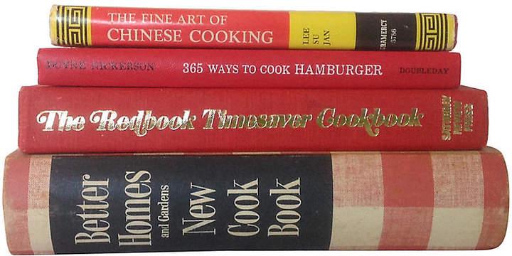One Kings Lane Vintage Red Midcentury Cookbooks - Set of 4 - Brandywine Bookshop
