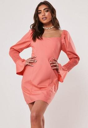 Missguided Coral Poplin Shirred Sleeve Milkmaid Mini Dress, Coral