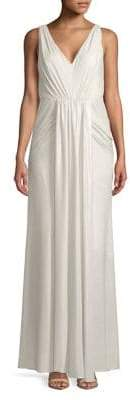 Adrianna Papell Ruched V-Neck Dress