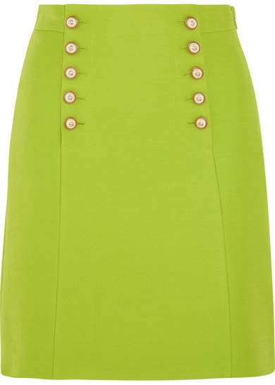 Gucci - Faux Pearl-embellished Wool-crepe Mini Skirt - Bright green
