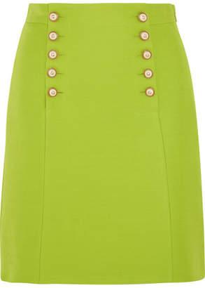 Gucci Faux Pearl-embellished Wool-crepe Mini Skirt - Bright green